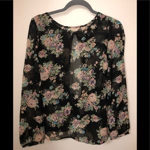 See through thing floral long sleeve top.